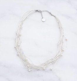 Marpa Eager White Pearl Silk Thread Handmade Silver Necklace
