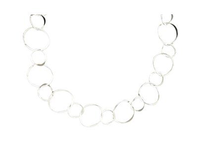 "Mark Steel Sterling Silver Staggered Link 18"" Necklace 51"