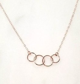 "Mark Steel 4 Circle Link Rose Gold Filled 18"" Necklace 17"