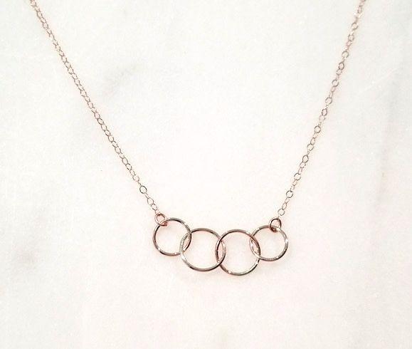 """Mark Steel 4 Circle Link Rose Gold Filled 18"""" Necklace 17"""