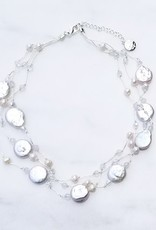 Marpa Eager Coin Pearl Silk Thread Short Necklace