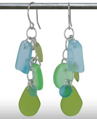 Austin Cake Earrings Cascade Sea Greens