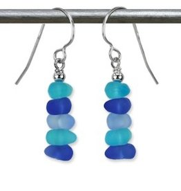 Austin Cake Blue Aqua Chip Sea Glass Style Sterling Silver Earrings
