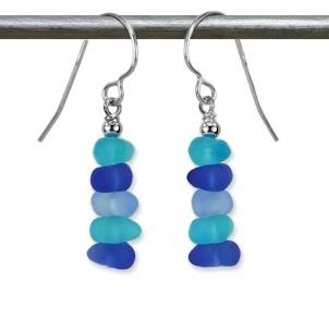 Austin Cake Blue Aqua Chip Sea Glass Style Sterling Silver Earrings