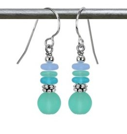 Austin Cake Pale Seafoam Bijoux Sea Glass Style Sterling Silver Earrings