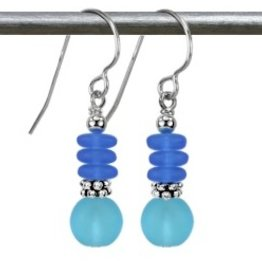 Austin Cake Aqua Blues Bijoux Sea Glass Style Sterling Silver Earrings