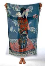 Printed Village La Japonaise Claude Monet MFA Boston Collection Scarf