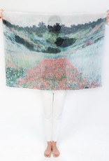 Printed Village Poppy Field Claude Monet MFA Boston Collection Scarf