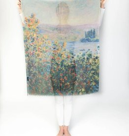 Printed Village Flower Beds at Vetheuil Claude Monet MFA Boston Collection Scarf
