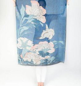 Printed Village Peonies and Canary Katsushika Hokusai MFA Boston Collection Scarf