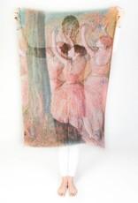 Printed Village Dancers in Rose Edgar Degas MFA Boston Collection Scarf