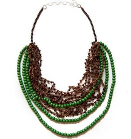 Angela Sanchez Green Pasca Wood Acai Berry Necklace