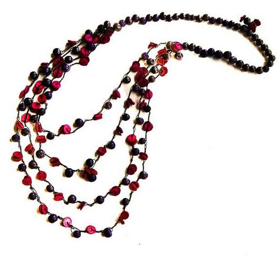 Angela Sanchez Pink Bogota Orange Peel Necklace