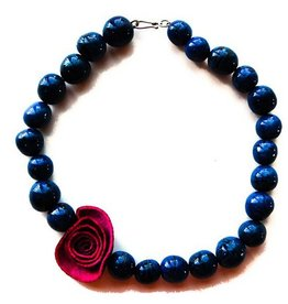 Angela Sanchez Royal Blue Hot Pink Cota Bombona Necklace