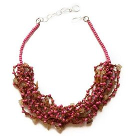 Angela Sanchez Pink Toca Wood Necklace