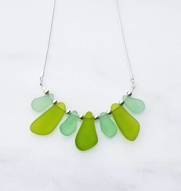 "Austin Cake Gulstream Greens Sea Fan Sea Glass Style Necklace 18"" Sterling Silver Snake Chain"