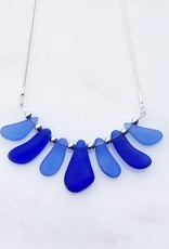 "Austin Cake Mixed Blues Sea Fan Sea Glass Style Necklace 18"" Sterling Silver Snake Chain"
