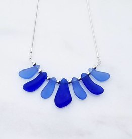 Austin Cake Mixed Blues Sea Fan Sea Glass Style Necklace 18  Sterling Silver Snake Chain