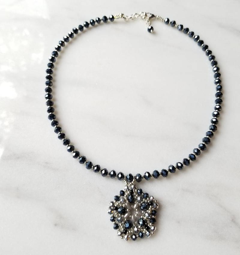 Esmeralda Lambert Deep Blue Metallic Sterling Silver Handwoven Pendant Statement Necklace