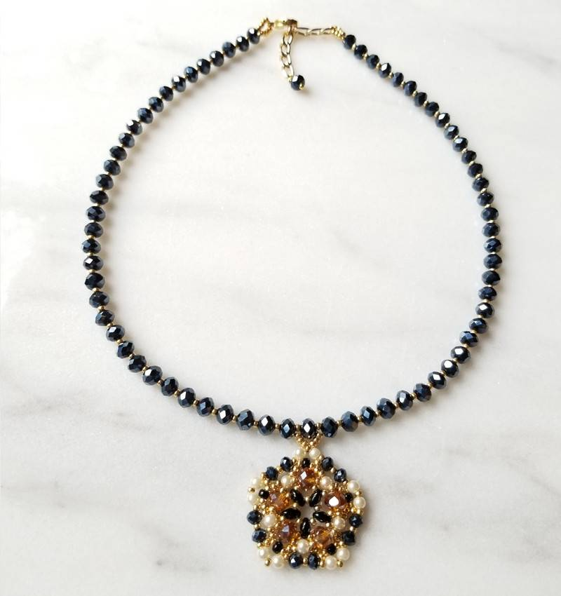 Esmeralda Lambert Black Pearl Gold Filled Handwoven Pendant Statement Necklace