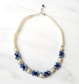 Esmeralda Lambert Light Blue Swarovski Pearl Handwoven Statement Necklace