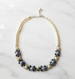 Esmeralda Lambert Light Dark Blue Swarovski Pearl Handwoven Statement Necklace