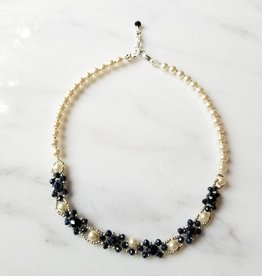 Esmeralda Lambert Dark Blue Swarovski Pearl Handwoven Statement Necklace