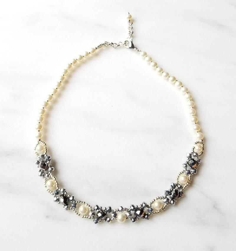 Esmeralda Lambert Silver Swarovski Pearl Handwoven Statement Necklace