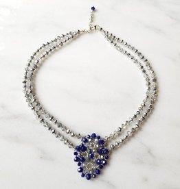 Esmeralda Lambert Royal Blue Silver Swarovski Double Handwoven Statement Necklace
