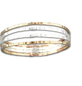 Mark Steel Four Strand Hammered Ring Mix Metals