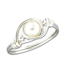 Mark Steel Wire Wrap Pearl Ring Sterling Silver