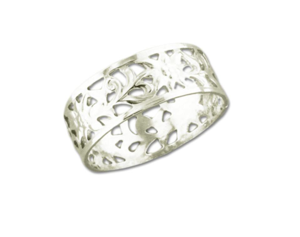 Mark Steel Filligree Ring Sterling Silver