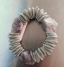 Sea Lily Sea Lily 1054 Silver Spring Ring Bracelet w/Amethyst Stones