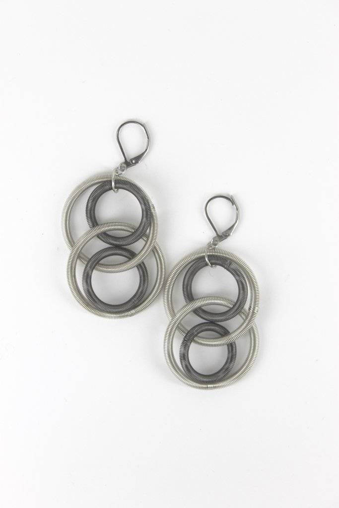 Sea Lily Sea Lily L5F-E Silver  Slate Earrings