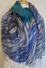 PR Thai Silk Art Color Waves Blue