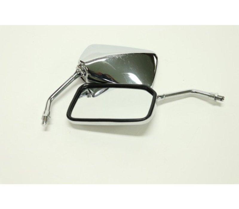 Chrome Square Soko Motorcycle Mirror