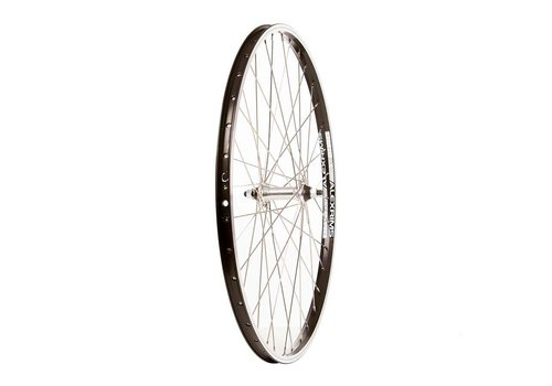 Front 26'' Wheel, Alex DM-18 Black / FM-21-F Silver, 36 Stainless Spokes, Nutted Axle