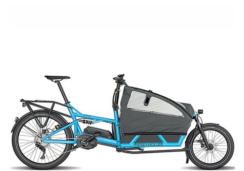 Riese & Muller Demo Riese & Muller Load Nuvinci Cyan Double Child Seat w/ Cover Dual 1000Wh High Sidewalls Inside Abus Lock