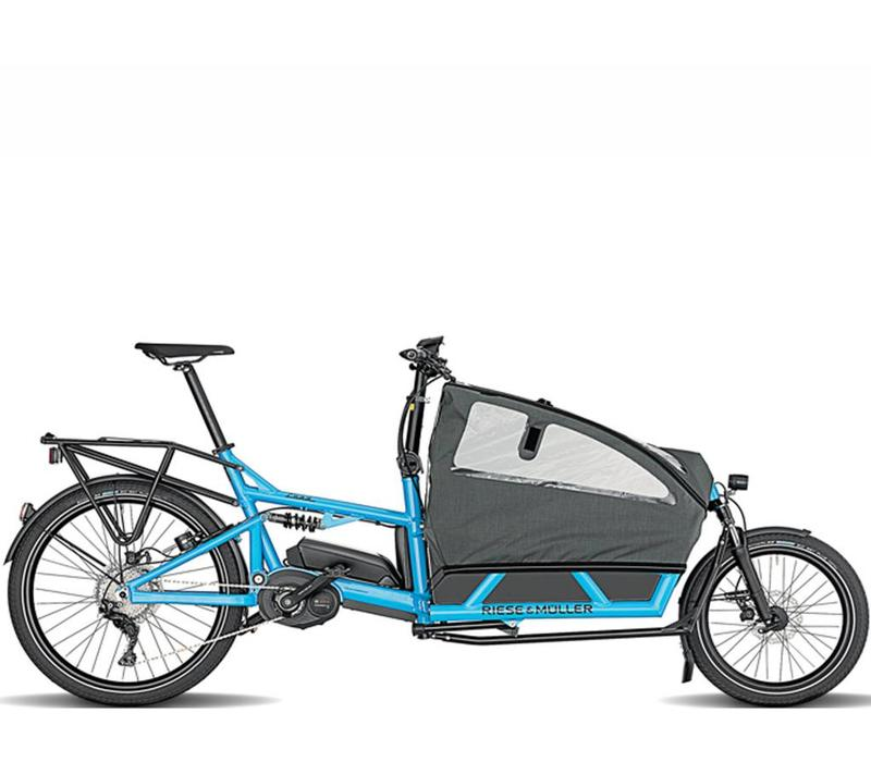Demo Riese & Muller Load Nuvinci Cyan Double Child Seat w/ Cover Dual 1000Wh High Sidewalls Inside Abus Lock