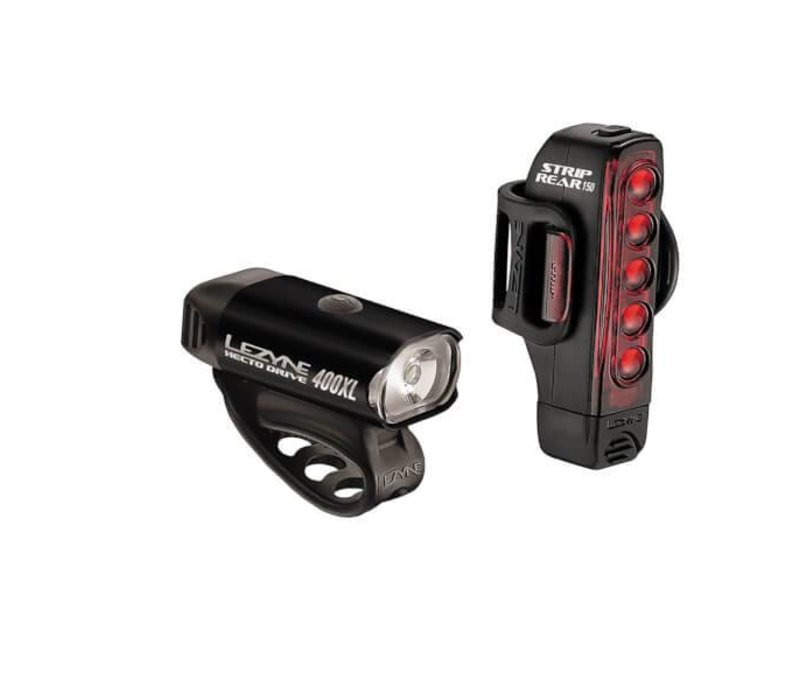 Lezyne, Hecto Drive, 400 Lumens / Strip Drive, 150 Lumens, Light, Set, Black