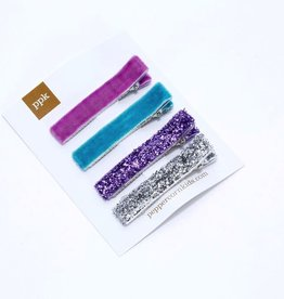 Peppercorn Kids Peppercorn Kids Glitter & Velvet Hair Clip Set