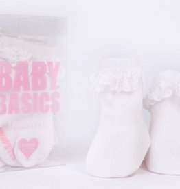 Trumpette Trumpette Basic White Lace 3-Pack Socks, 0-12m