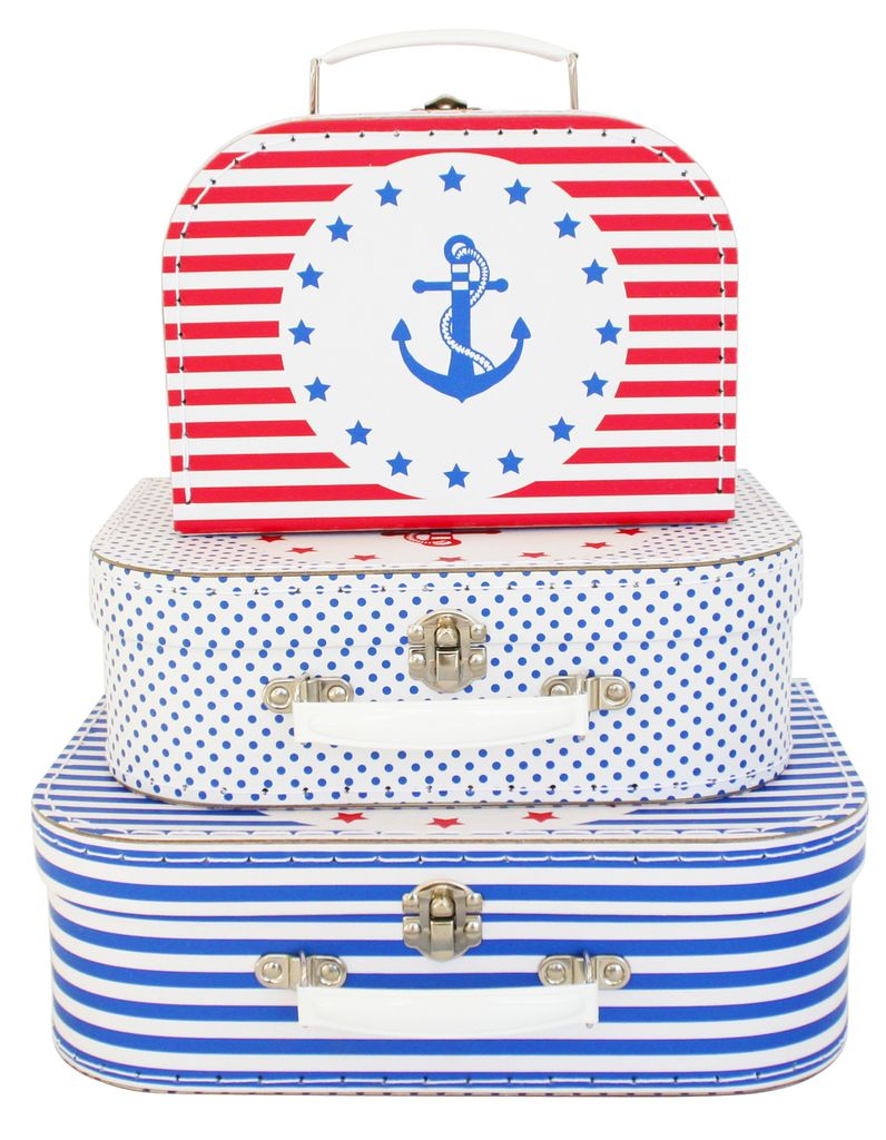 Alimrose Alimrose Nautical 3pc Suitcase Set