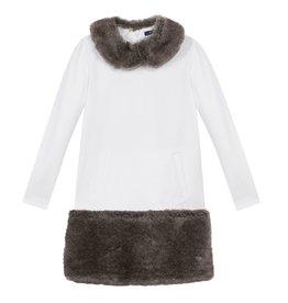 Lili Gaufrette Lili Gaufrette Long Sleeve Dress with Faux Fur Collar