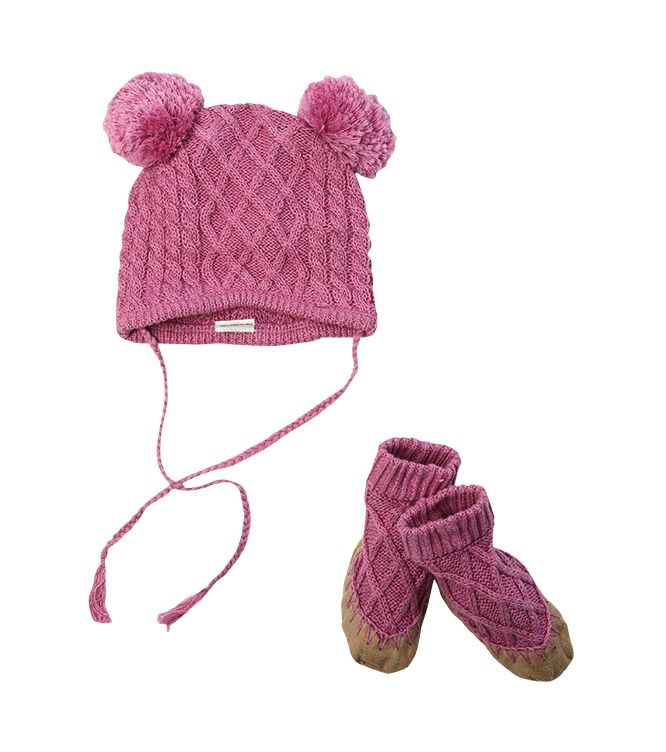 egg Egg Cable Knit Hat & Booties Set *More Colors*