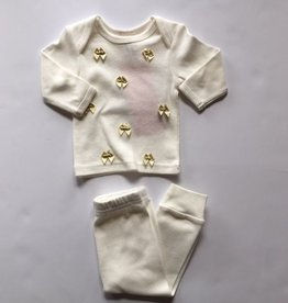 Oh Baby Oh Baby Cream Sparkle Bow 2pc Set