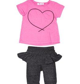 Joah Love Joah Love Ester Heart Cording Top with Ruffle Leggings Set
