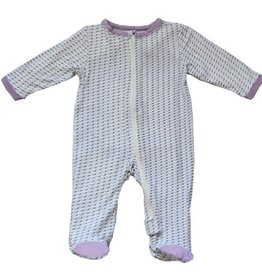 silkberry baby Silkberry Baby Bamboo Printed Footed Sleeper Lilac Leaves