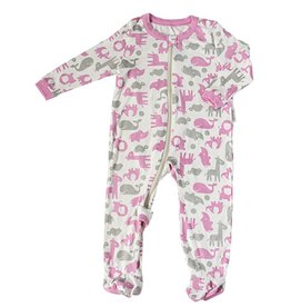 silkberry baby Silkberry Baby Bamboo Printed Zipper Footie Wild by Nature