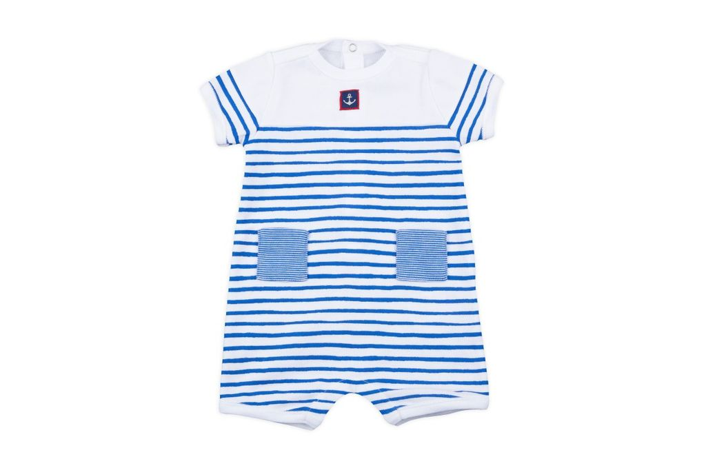 Petit Bateau Petit Bateau Short Sleeve Striped Romper with Anchor